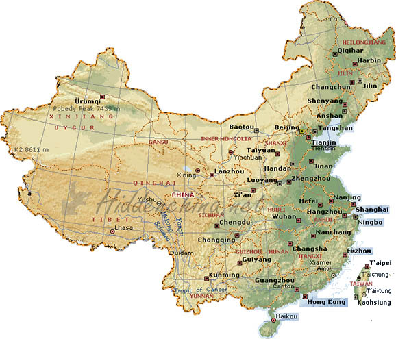 maps of china. topographic maps of China.