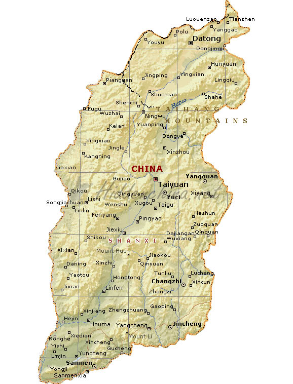 Shanxi China Map.Hidden China Gmbh Map Of Shanxi Province China