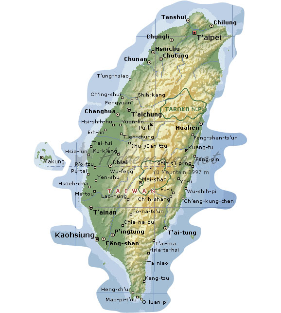 Hidden China GmbH Map of Taiwan Island China